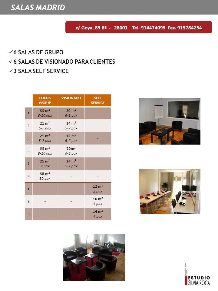 SALAS MADRID c/ Goya, 83 6º - 28001 Tel. 914474095 Fax. 915784254 6 SALAS DE GRUPO 6 SALAS DE VISIONADO PARA CLIENTES 3 SALA SELF SERVICE FOCUS GROUP