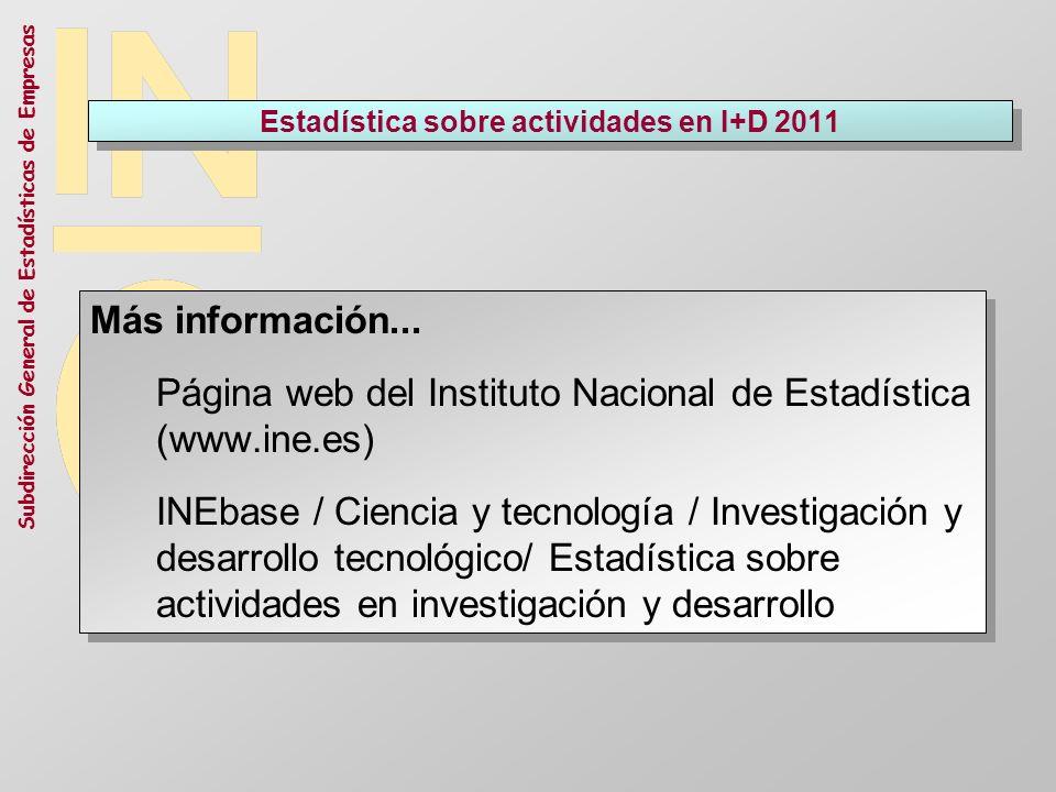 Subdirección General de Estadísticas de Empresas Estadística sobre actividades en I+D 2011 Más información... Página web del Instituto Nacional de Est