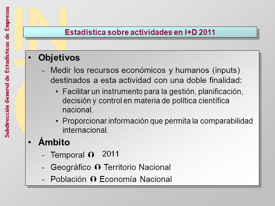 Subdirección General de Estadísticas de Empresas Estadística sobre actividades en I+D 2011 Objetivos -Medir los recursos económicos y humanos (inputs)
