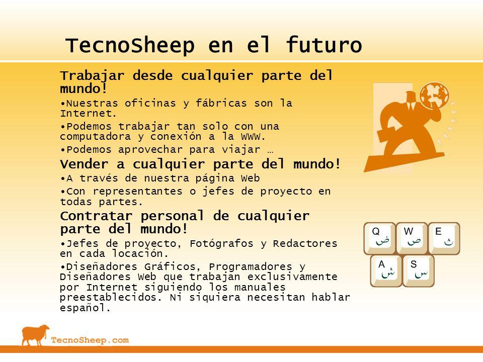 TecnoSheep en el futuro Trabajar desde cualquier parte del mundo! Nuestras oficinas y fábricas son la Internet. Podemos trabajar tan solo con una comp