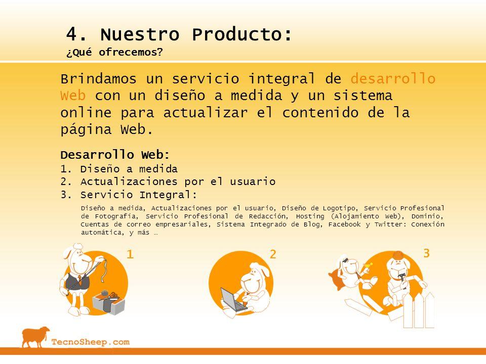 4. Nuestro Producto: ¿Qué ofrecemos? Desarrollo Web: 1.Diseño a medida 2.Actualizaciones por el usuario 3.Servicio Integral: Diseño a medida, Actualiz