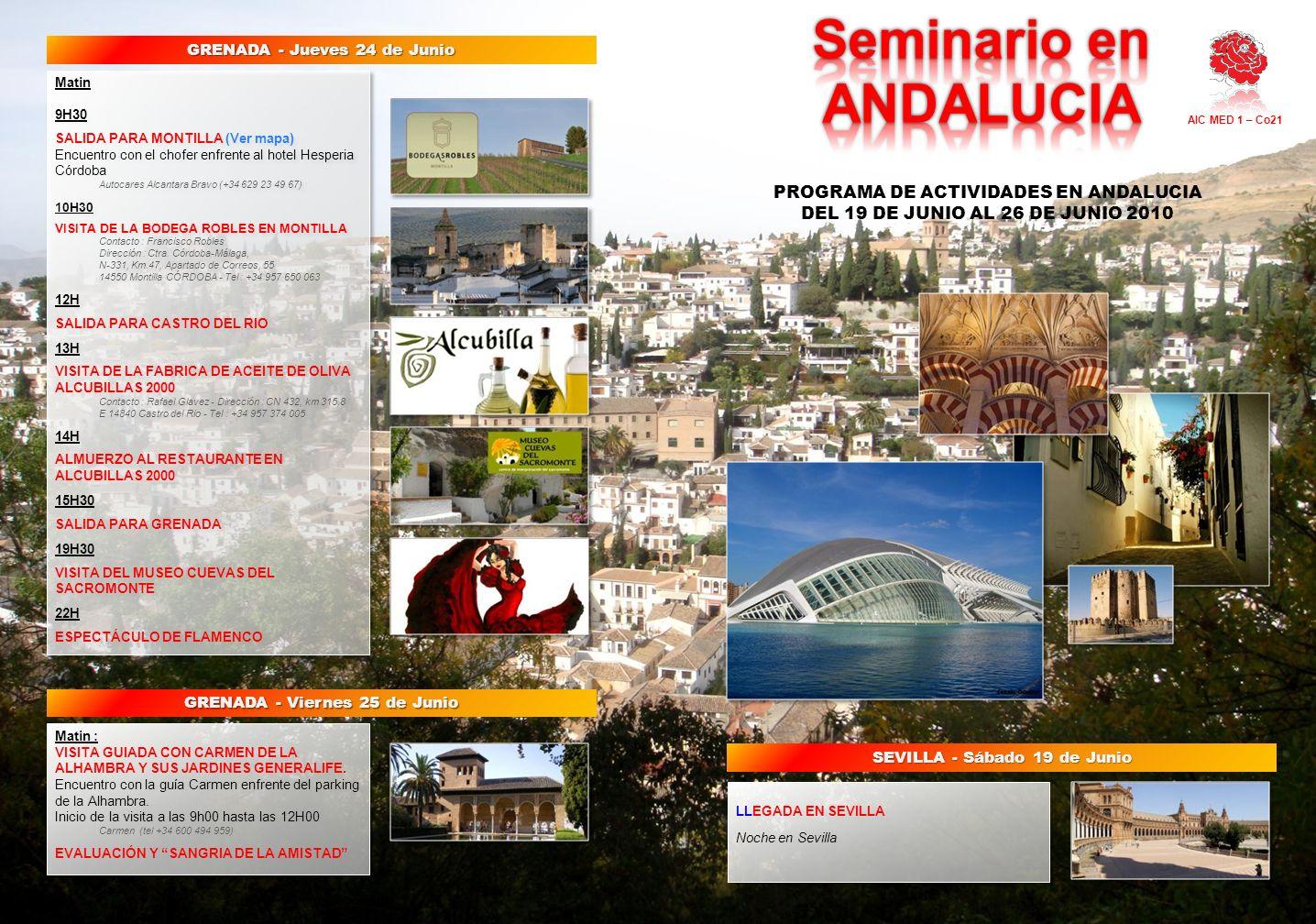 LLEGADA EN SEVILLA Noche en Sevilla LLEGADA EN SEVILLA Noche en Sevilla Matin 9H30 SALIDA PARA MONTILLA (Ver mapa) Encuentro con el chofer enfrente al