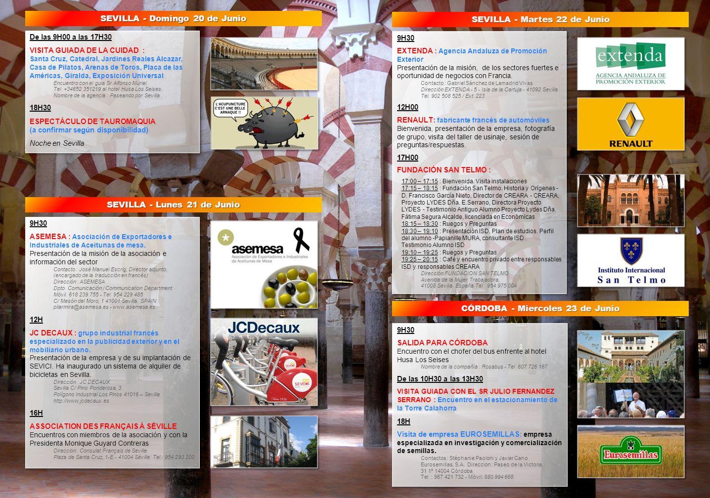 De las 9H00 a las 17H30 VISITA GUIADA DE LA CUIDAD : Santa Cruz, Catedral, Jardines Reales Alcazar, Casa de Pilatos, Arenas de Toros, Placa de las Amé