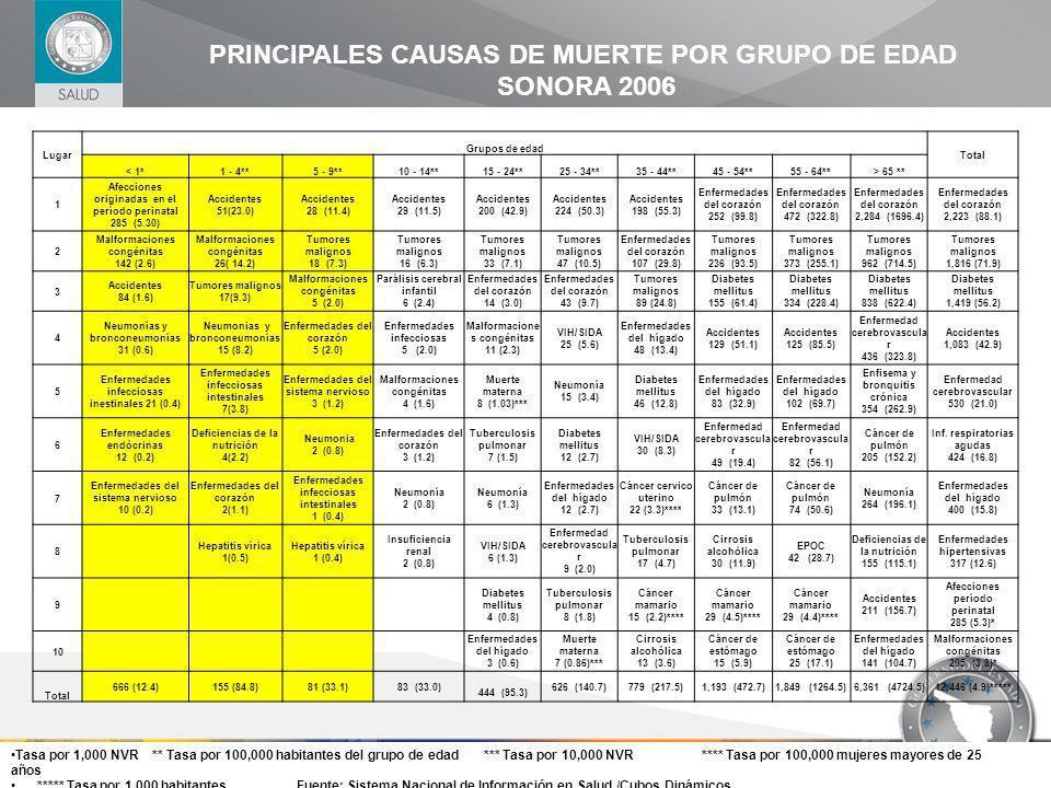 PRINCIPALES CAUSAS DE MUERTE POR GRUPO DE EDAD SONORA 2006 Lugar Grupos de edad Total < 1*1 - 4**5 - 9**10 - 14**15 - 24**25 - 34**35 - 44**45 - 54**5