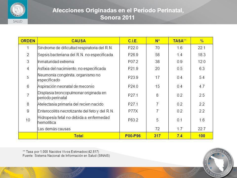 ORDENCAUSAC.I.E.NºTASA**% 1Síndrome de dificultad respiratoria del R.N.P22.0701.622.1 2Sepsis bacteriana del R.N. no especificadaP26.9581.418.3 3Inmat