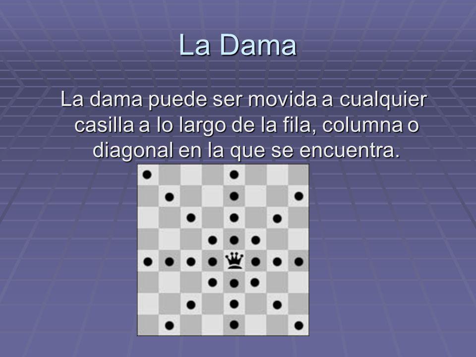La Dama La dama puede ser movida a cualquier casilla a lo largo de la fila, columna o diagonal en la que se encuentra.