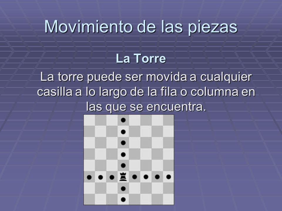 Movimiento de las piezas La Torre La torre puede ser movida a cualquier casilla a lo largo de la fila o columna en las que se encuentra.