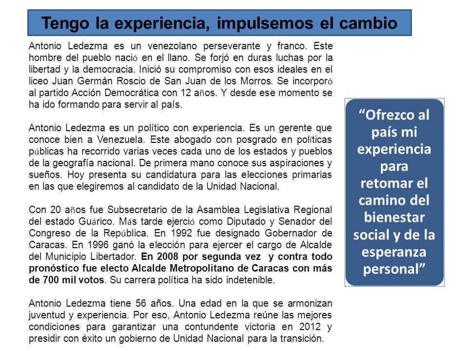 Tengo la experiencia, impulsemos el cambio Antonio Ledezma es un venezolano perseverante y franco. Este hombre del pueblo naci ó en el llano. Se forjó