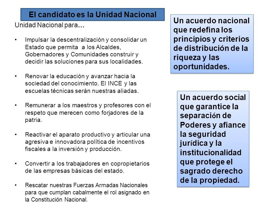 Unidad Nacional para… Impulsar la descentralización y consolidar un Estado que permita a los Alcaldes, Gobernadores y Comunidades construir y decidir
