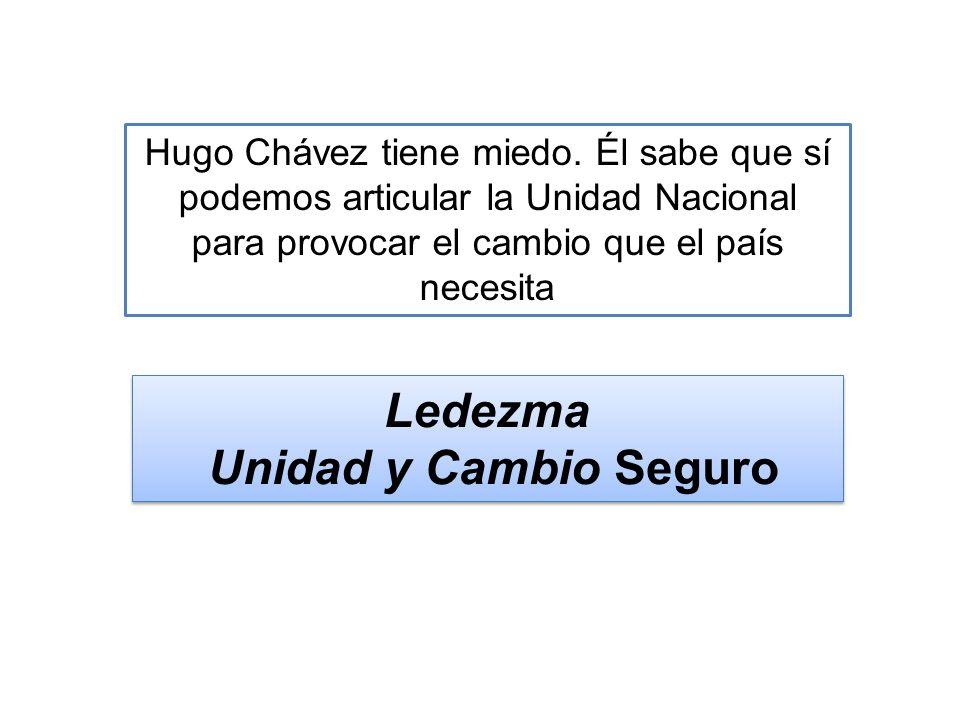 Ledezma Unidad y Cambio Seguro Ledezma Unidad y Cambio Seguro Hugo Chávez tiene miedo. Él sabe que sí podemos articular la Unidad Nacional para provoc