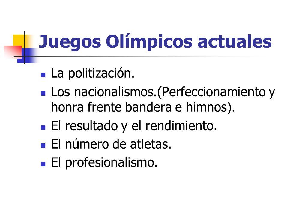 Juegos Olímpicos actuales La politización. Los nacionalismos.(Perfeccionamiento y honra frente bandera e himnos). El resultado y el rendimiento. El nú