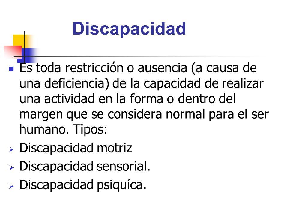 Discapacidad Es toda restricción o ausencia (a causa de una deficiencia) de la capacidad de realizar una actividad en la forma o dentro del margen que