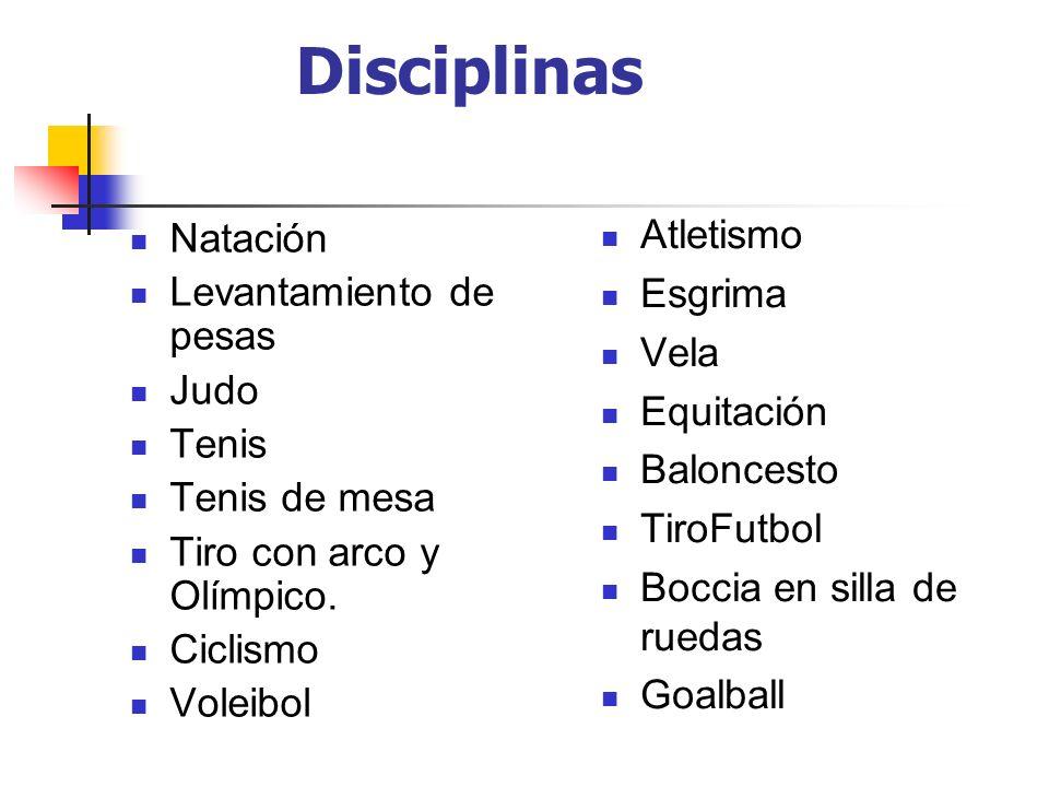 Disciplinas Atletismo Esgrima Vela Equitación Baloncesto TiroFutbol Boccia en silla de ruedas Goalball Natación Levantamiento de pesas Judo Tenis Teni