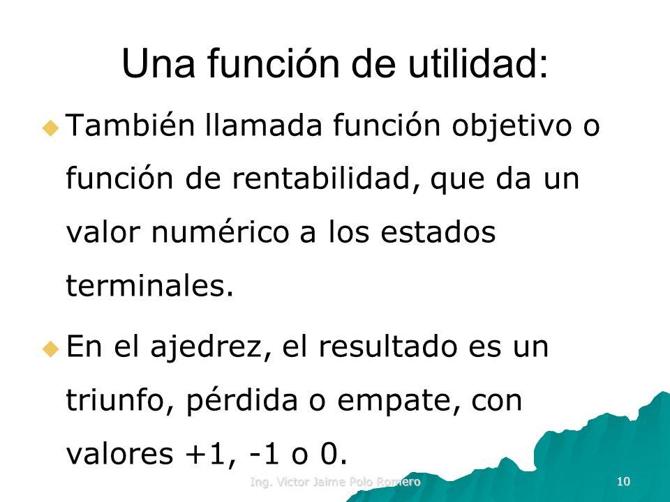 Ing. Victor Jaime Polo Romero 10 Una función de utilidad: También llamada función objetivo o función de rentabilidad, que da un valor numérico a los e