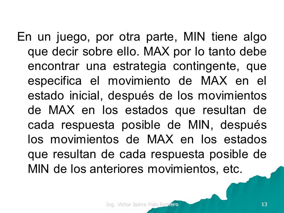 Ing. Victor Jaime Polo Romero 13 En un juego, por otra parte, MIN tiene algo que decir sobre ello. MAX por lo tanto debe encontrar una estrategia cont