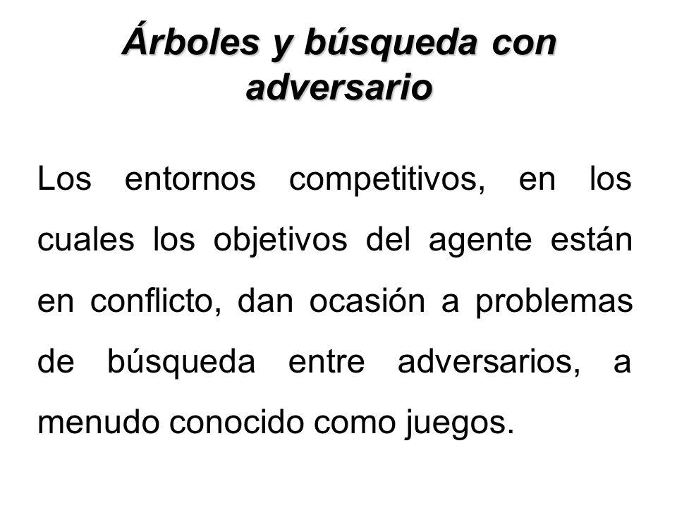 Árboles y búsqueda con adversario Los entornos competitivos, en los cuales los objetivos del agente están en conflicto, dan ocasión a problemas de bús