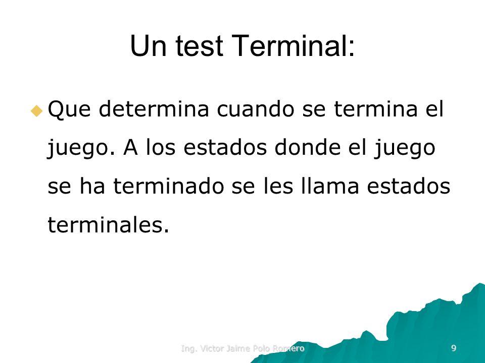 Ing. Victor Jaime Polo Romero 9 Un test Terminal: Que determina cuando se termina el juego. A los estados donde el juego se ha terminado se les llama