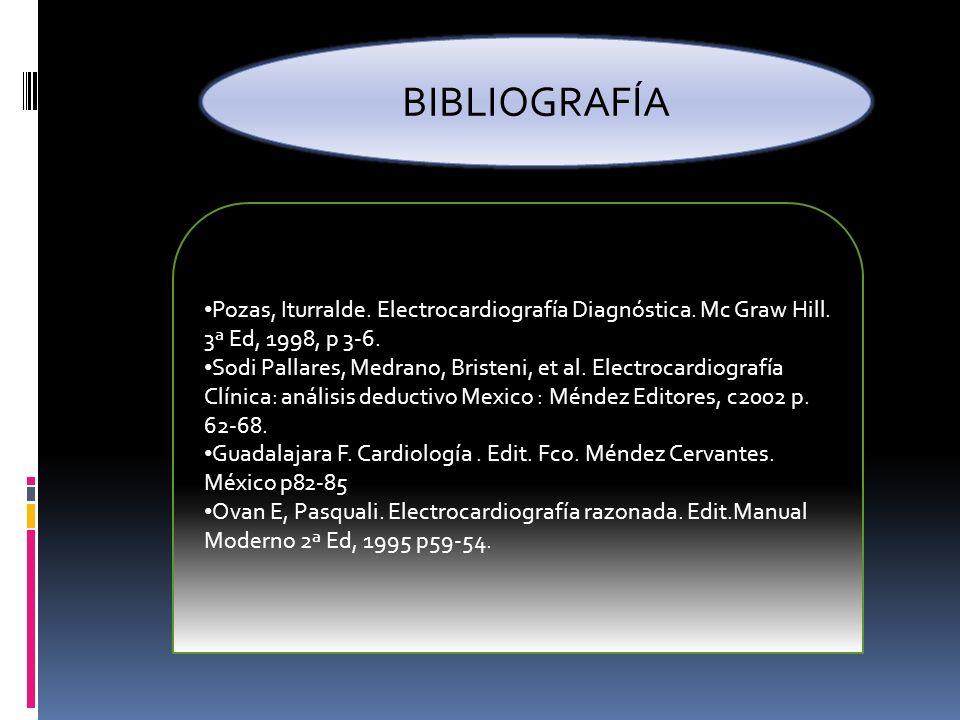 BIBLIOGRAFÍA Pozas, Iturralde. Electrocardiografía Diagnóstica. Mc Graw Hill. 3ª Ed, 1998, p 3-6. Sodi Pallares, Medrano, Bristeni, et al. Electrocard