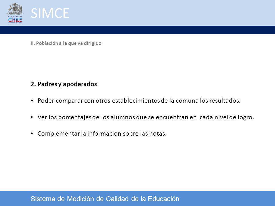 SIMCE Sistema de Medición de Calidad de la Educación 2. Padres y apoderados Poder comparar con otros establecimientos de la comuna los resultados. Ver