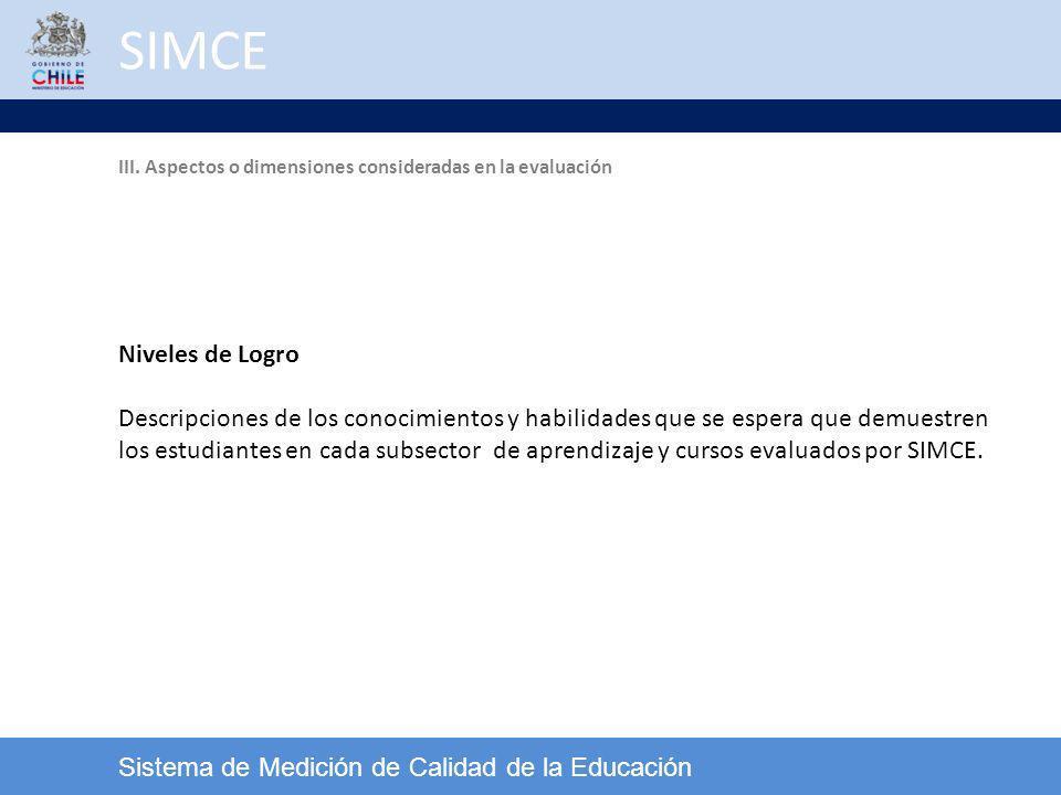 SIMCE Sistema de Medición de Calidad de la Educación Niveles de Logro Descripciones de los conocimientos y habilidades que se espera que demuestren lo