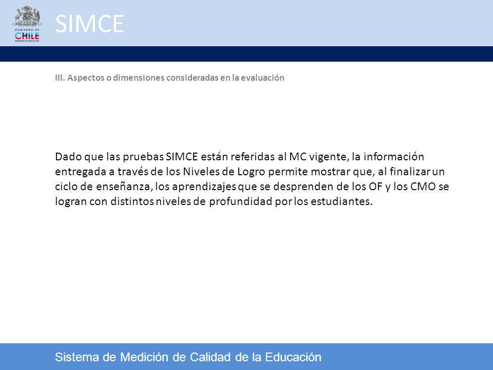 SIMCE Sistema de Medición de Calidad de la Educación Dado que las pruebas SIMCE están referidas al MC vigente, la información entregada a través de lo