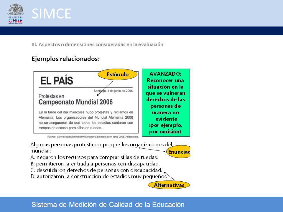SIMCE Sistema de Medición de Calidad de la Educación Ejemplos relacionados: III. Aspectos o dimensiones consideradas en la evaluación