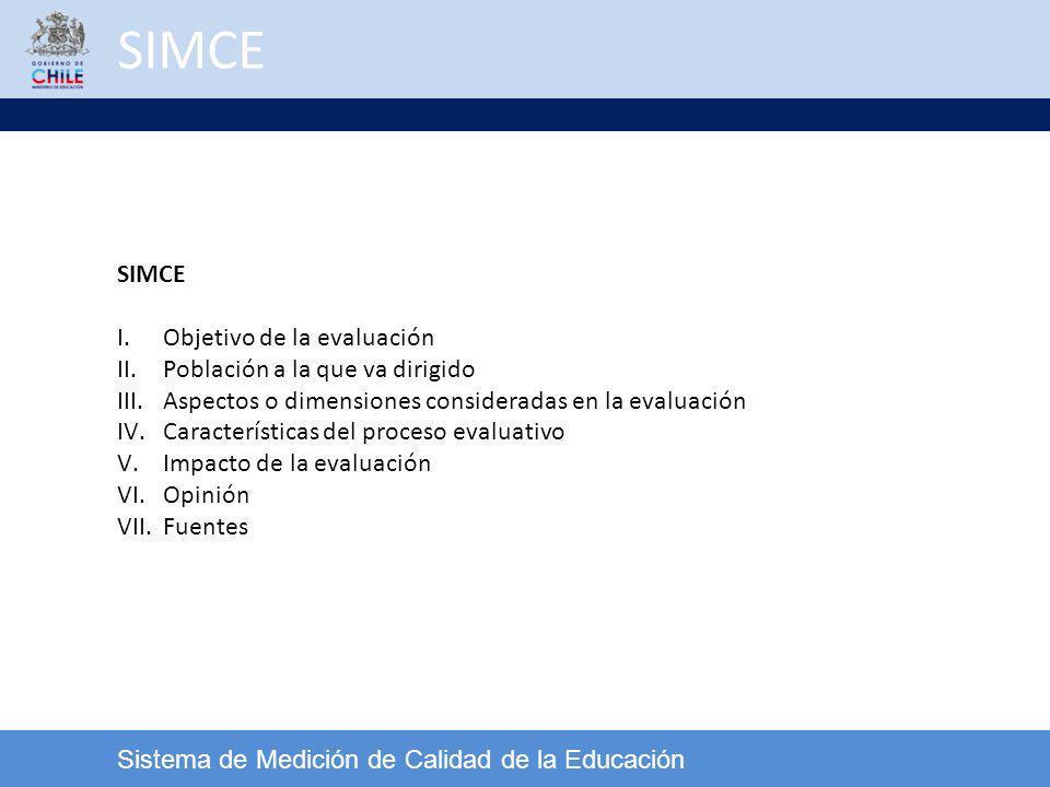 Sistema de Medición de Calidad de la Educación SIMCE I.Objetivo de la evaluación II.Población a la que va dirigido III.Aspectos o dimensiones consider
