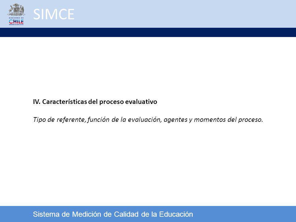 SIMCE Sistema de Medición de Calidad de la Educación IV. Características del proceso evaluativo Tipo de referente, función de la evaluación, agentes y