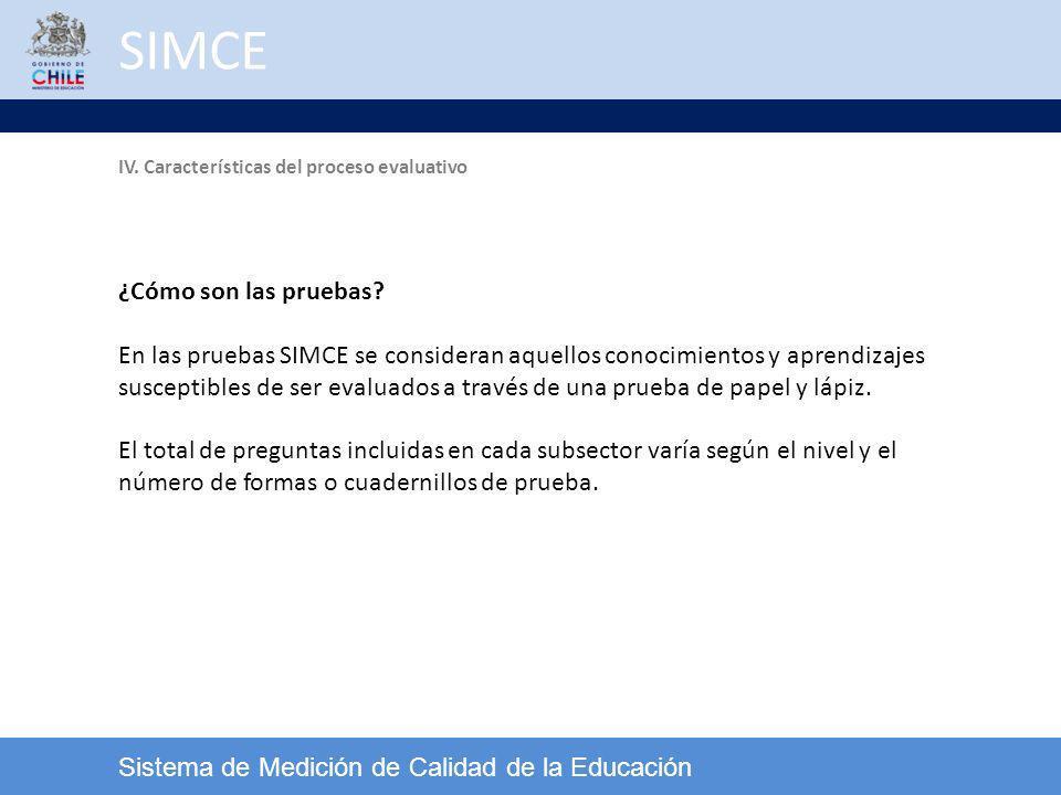 SIMCE Sistema de Medición de Calidad de la Educación ¿Cómo son las pruebas? En las pruebas SIMCE se consideran aquellos conocimientos y aprendizajes s