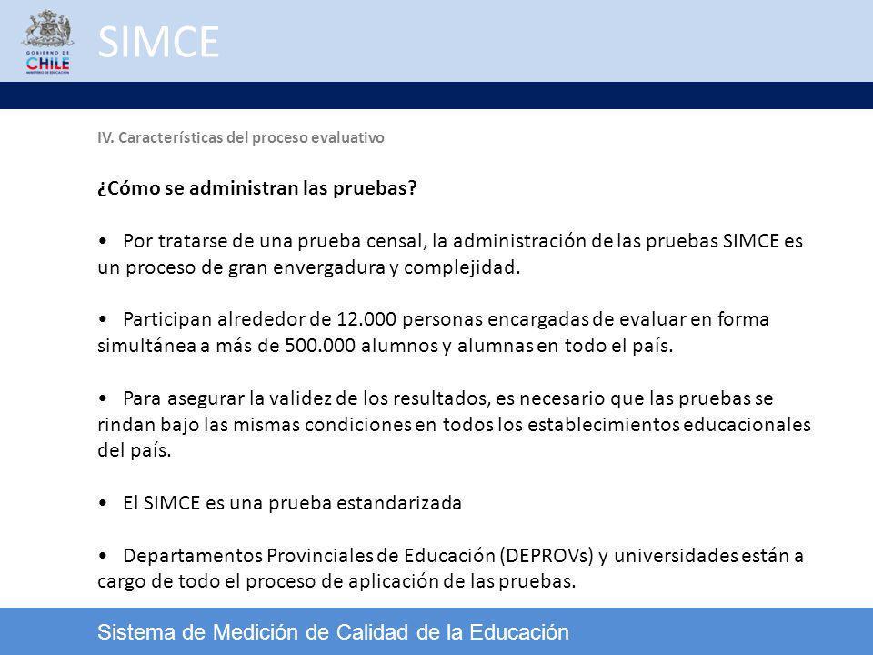 SIMCE Sistema de Medición de Calidad de la Educación ¿Cómo se administran las pruebas? Por tratarse de una prueba censal, la administración de las pru