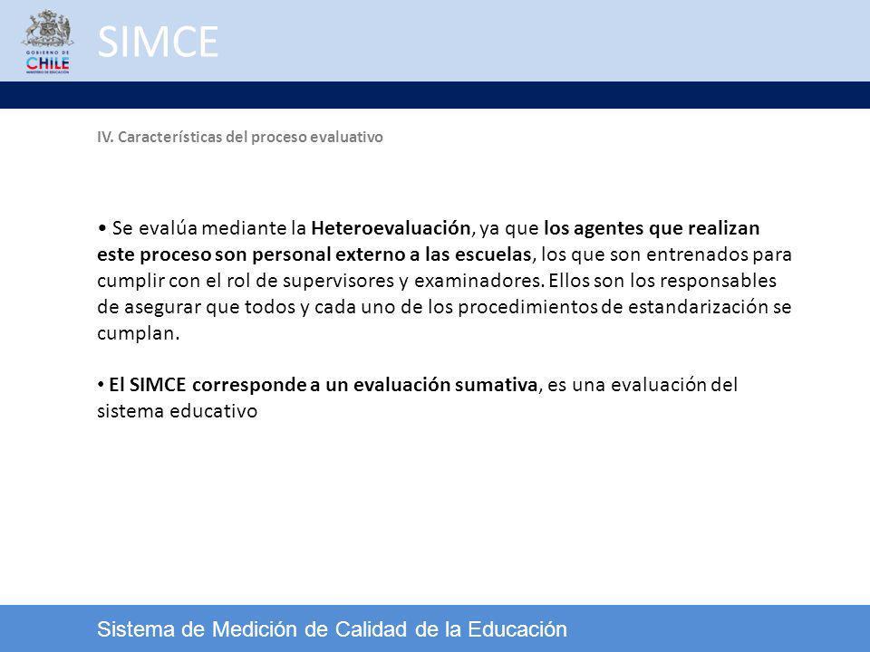 SIMCE Sistema de Medición de Calidad de la Educación IV. Características del proceso evaluativo Se evalúa mediante la Heteroevaluación, ya que los age