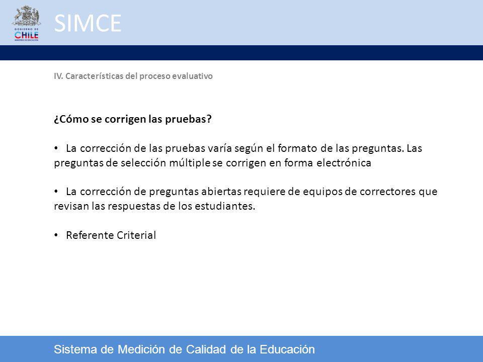 SIMCE Sistema de Medición de Calidad de la Educación ¿Cómo se corrigen las pruebas? La corrección de las pruebas varía según el formato de las pregunt