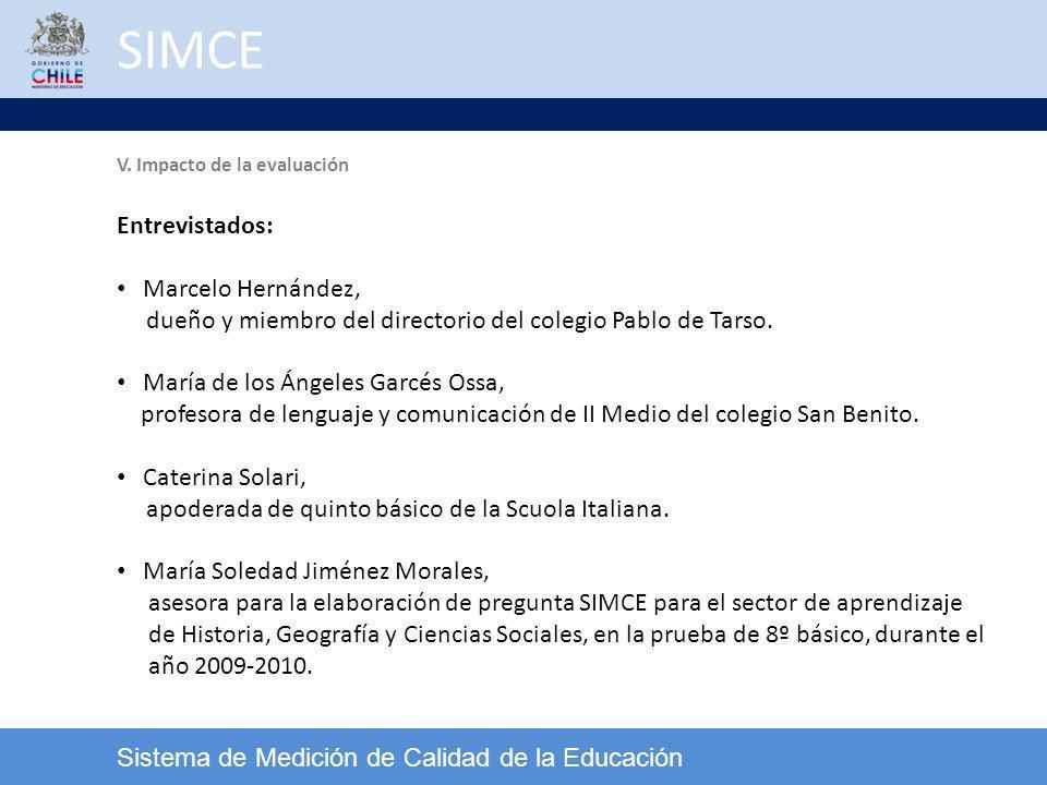 SIMCE Sistema de Medición de Calidad de la Educación V. Impacto de la evaluación Entrevistados: Marcelo Hernández, dueño y miembro del directorio del