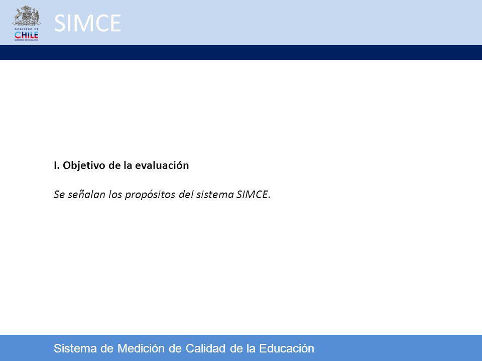 SIMCE Sistema de Medición de Calidad de la Educación I. Objetivo de la evaluación Se señalan los propósitos del sistema SIMCE.