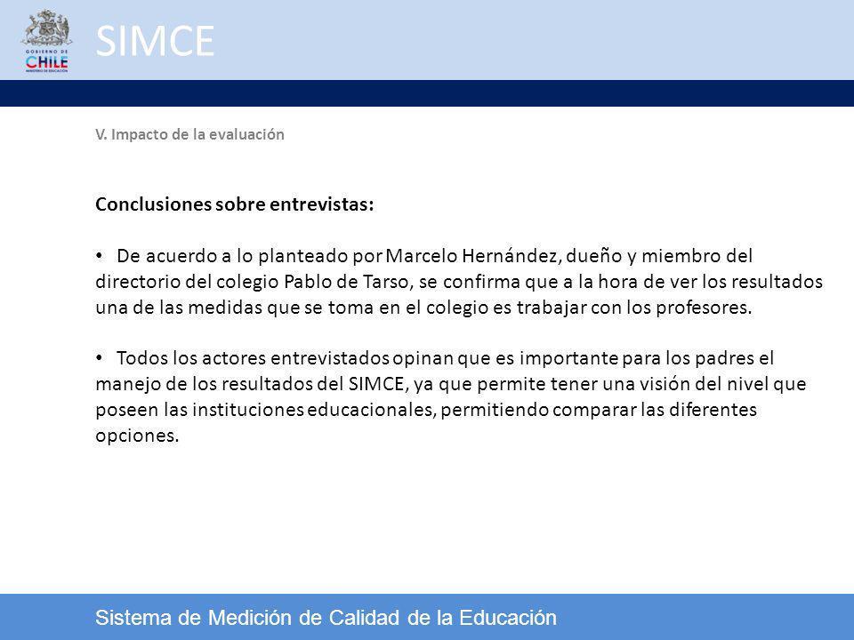 SIMCE Sistema de Medición de Calidad de la Educación V. Impacto de la evaluación Conclusiones sobre entrevistas: De acuerdo a lo planteado por Marcelo