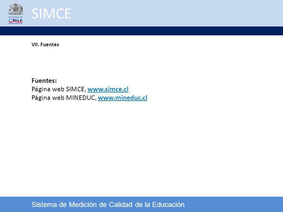 SIMCE Sistema de Medición de Calidad de la Educación Fuentes: Página web SIMCE, www.simce.cl Página web MINEDUC, www.mineduc.cl VII. Fuentes