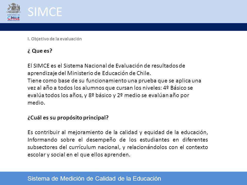 SIMCE Sistema de Medición de Calidad de la Educación Se distinguen tres niveles: Inicial Intermedio Avanzado Cada Nivel de Logro se encuentra asociado a puntajes obtenidos en las pruebas SIMCE, según los cuales se clasifica el desempeño de los estudiantes.