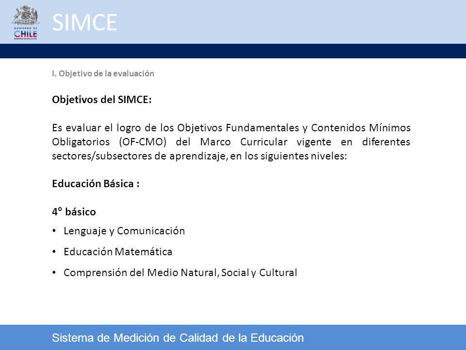 SIMCE Sistema de Medición de Calidad de la Educación Objetivos del SIMCE: Es evaluar el logro de los Objetivos Fundamentales y Contenidos Mínimos Obli