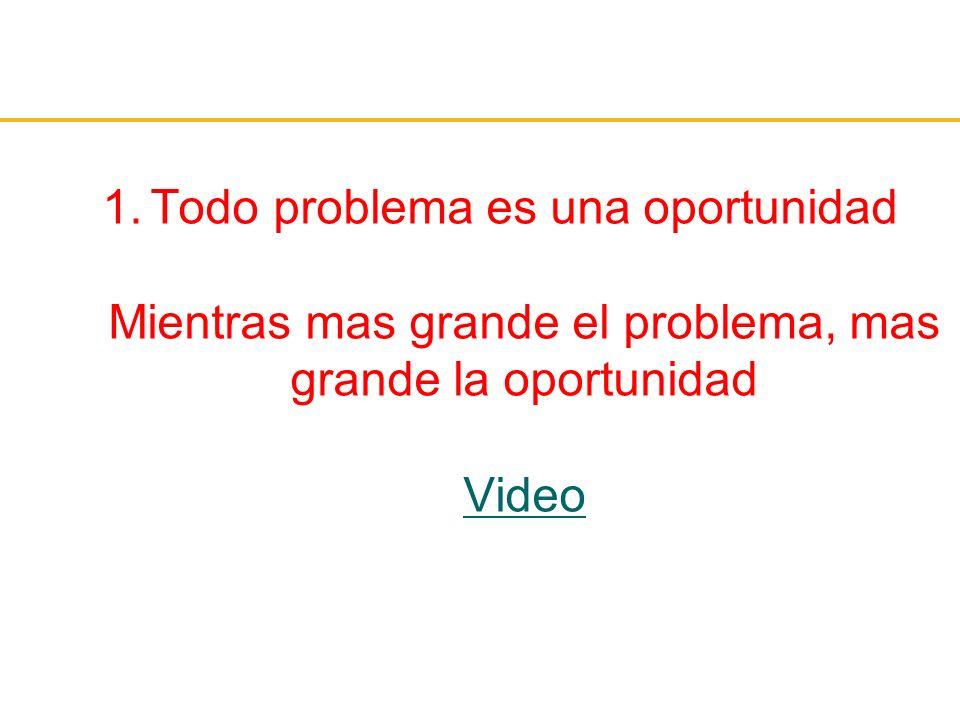 1.Todo problema es una oportunidad Mientras mas grande el problema, mas grande la oportunidad Video Video