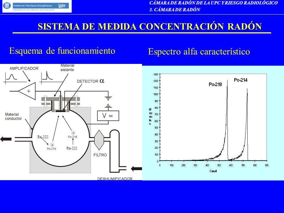 SISTEMA DE MEDIDA CONCENTRACIÓN RADÓN Esquema de funcionamiento Espectro alfa característico CÁMARA DE RADÓN DE LA UPC Y RIESGO RADIOLÓGICO 3. CÁMARA