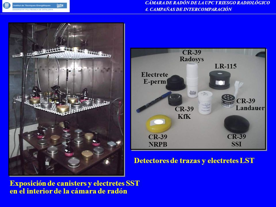 Exposición de canisters y electretes SST en el interior de la cámara de radón Detectores de trazas y electretes LST LR-115 CR-39 Radosys Electrete E-p