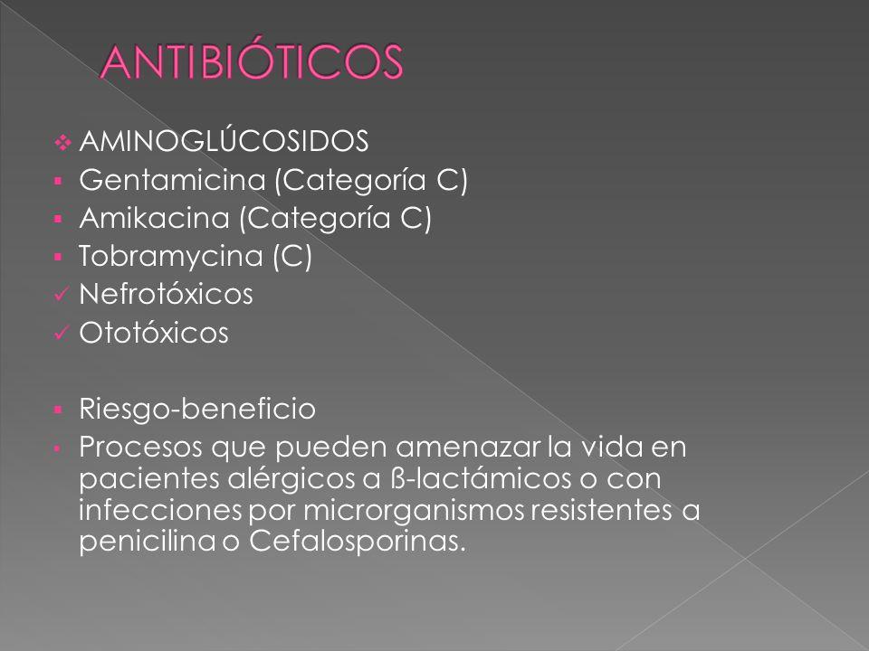 AMINOGLÚCOSIDOS Gentamicina (Categoría C) Amikacina (Categoría C) Tobramycina (C) Nefrotóxicos Ototóxicos Riesgo-beneficio Procesos que pueden amenaza