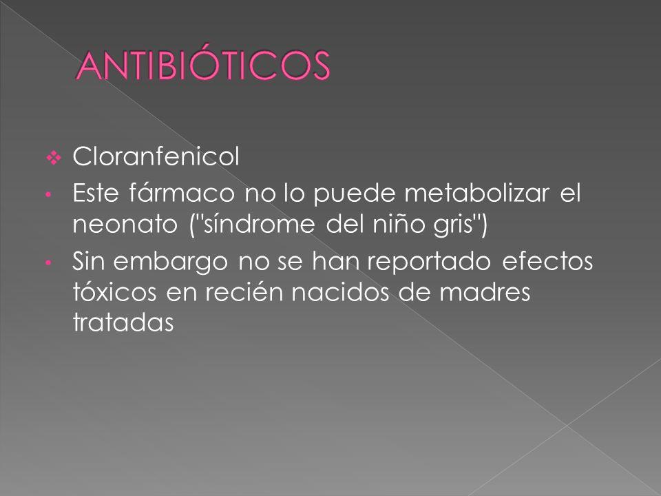 Cloranfenicol Este fármaco no lo puede metabolizar el neonato (
