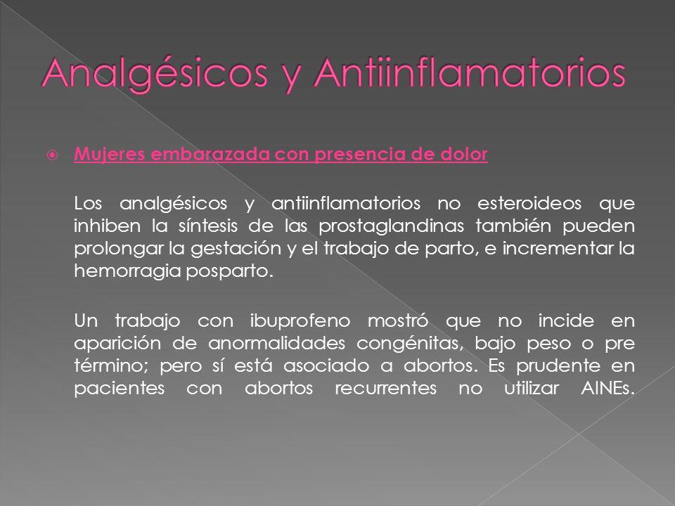 Mujeres embarazada con presencia de dolor Los analgésicos y antiinflamatorios no esteroideos que inhiben la síntesis de las prostaglandinas también pu