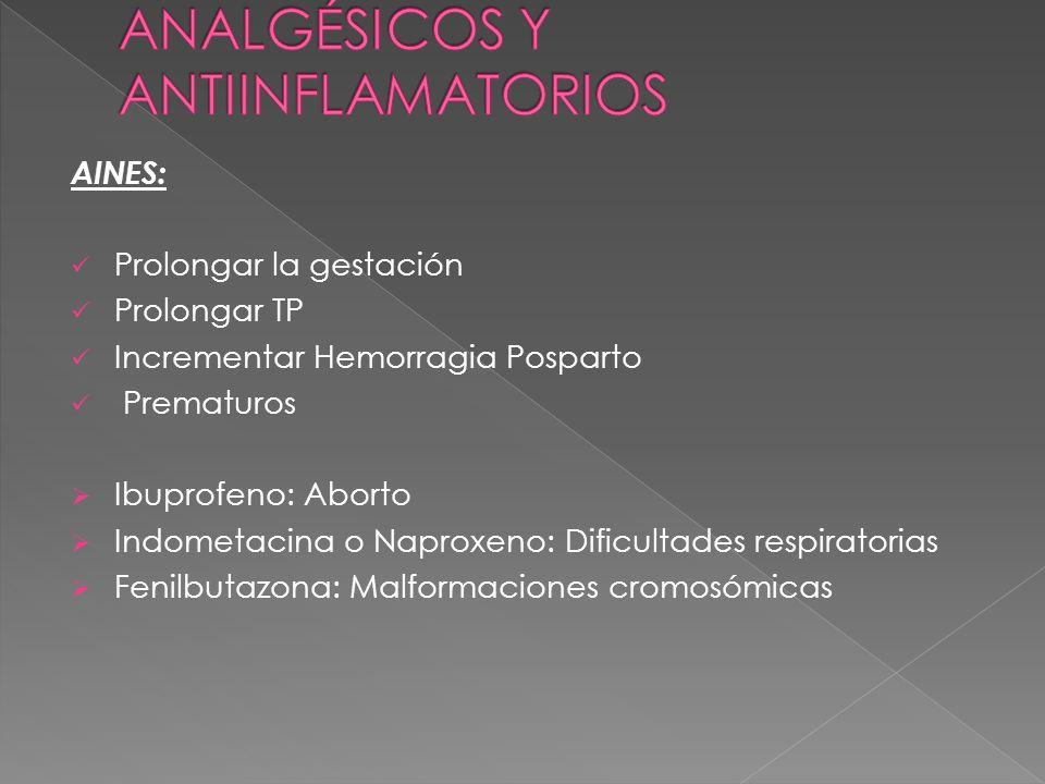 AINES: Prolongar la gestación Prolongar TP Incrementar Hemorragia Posparto Prematuros Ibuprofeno: Aborto Indometacina o Naproxeno: Dificultades respir