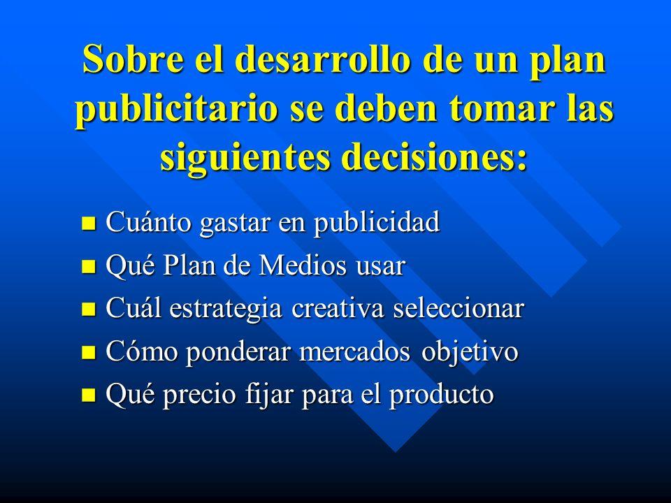 Sobre el desarrollo de un plan publicitario se deben tomar las siguientes decisiones: n Cuánto gastar en publicidad n Qué Plan de Medios usar n Cuál e