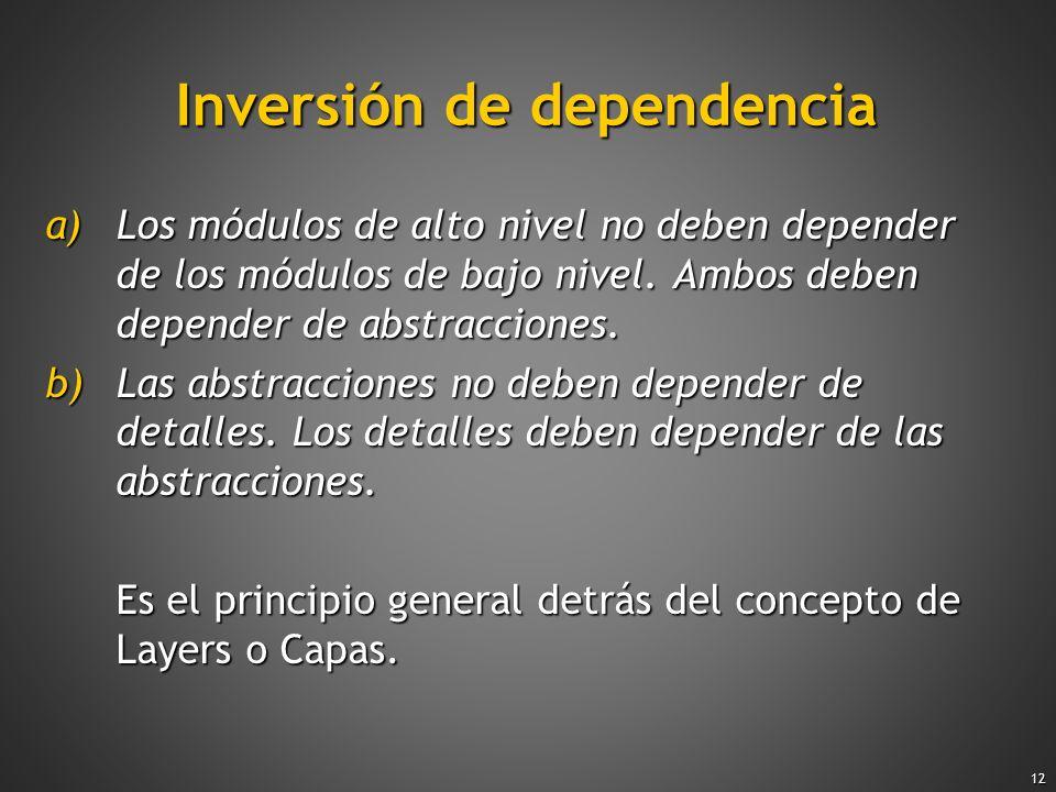12 Inversión de dependencia a)Los módulos de alto nivel no deben depender de los módulos de bajo nivel. Ambos deben depender de abstracciones. b)Las a