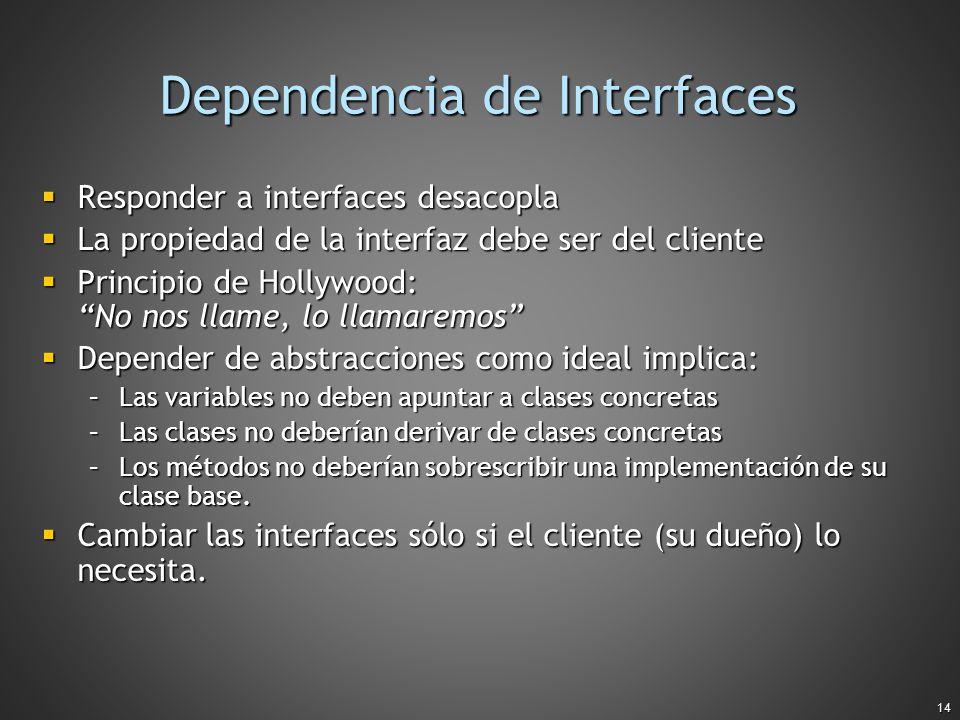 14 Dependencia de Interfaces Responder a interfaces desacopla Responder a interfaces desacopla La propiedad de la interfaz debe ser del cliente La pro