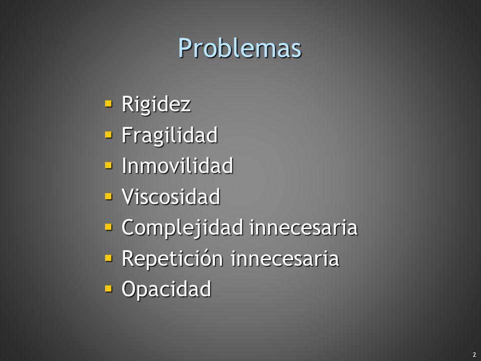 2 Problemas Rigidez Rigidez Fragilidad Fragilidad Inmovilidad Inmovilidad Viscosidad Viscosidad Complejidad innecesaria Complejidad innecesaria Repeti