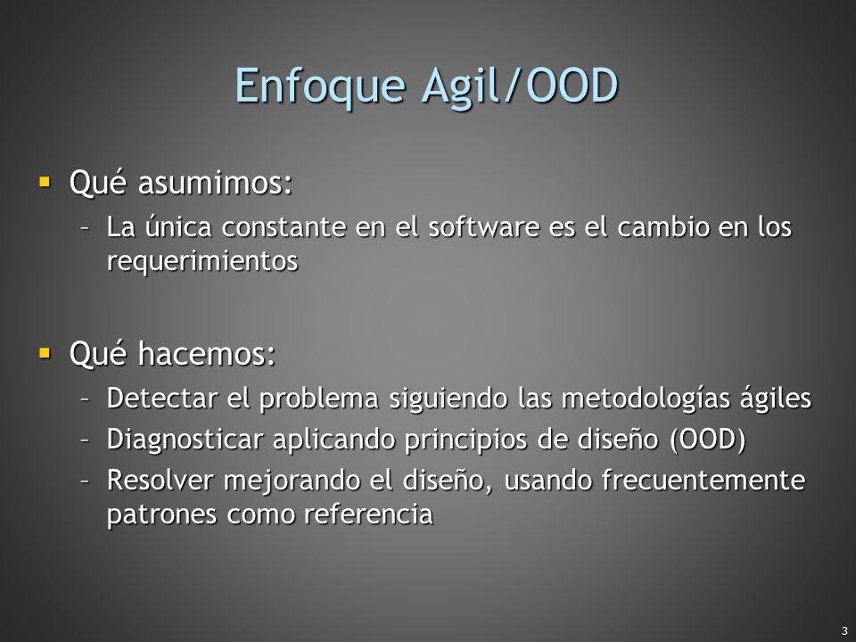 3 Enfoque Agil/OOD Qué asumimos: Qué asumimos: –La única constante en el software es el cambio en los requerimientos Qué hacemos: Qué hacemos: –Detect